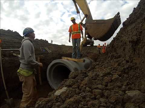 Installing Concrete Storm Pipe (GoPro)