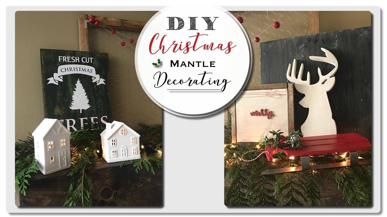 Christmas Mantle.Diy Christmas Mantle Farmhouse Christmas Decor 2017