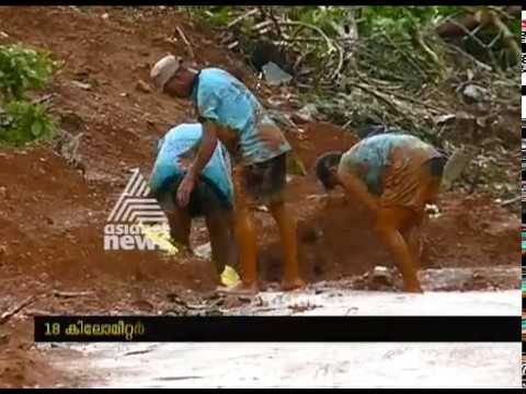 Pathetic condition of Manathavady   Periya route road after heavy flood
