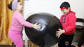 Celina and Hasouna with BIG BALLOON - سيلينا وحسونة بالون كبير