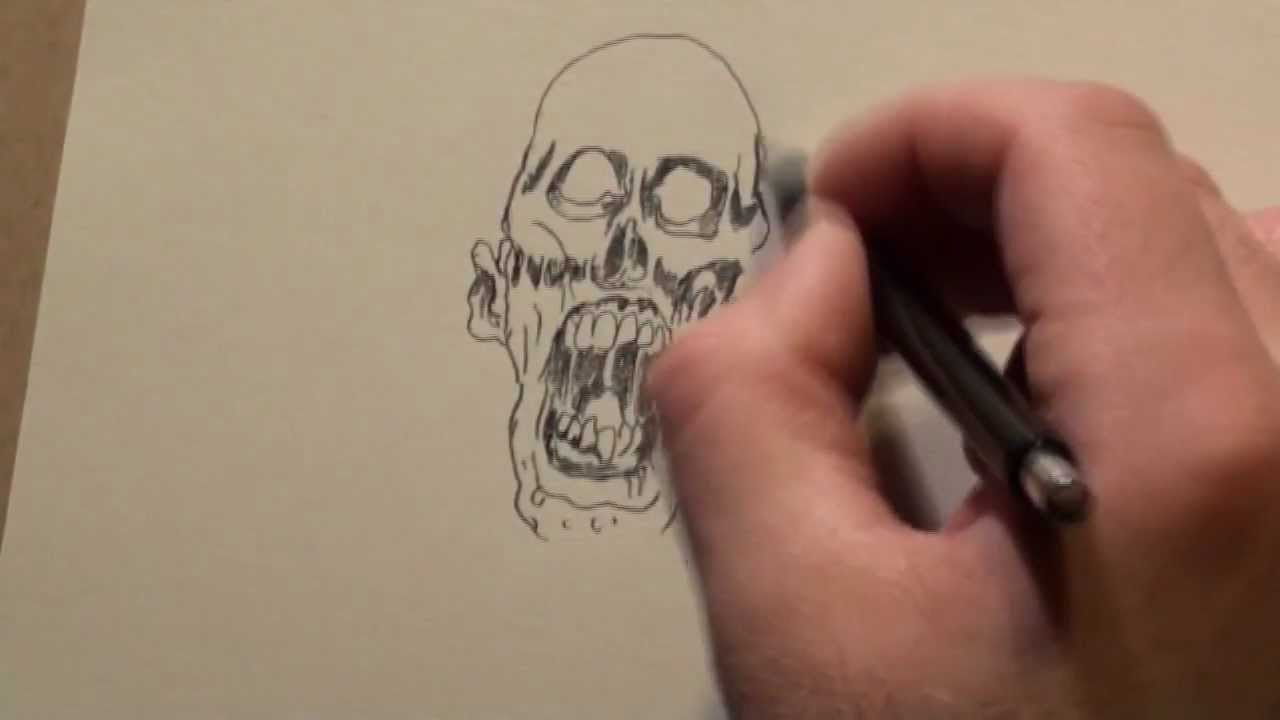 Zombie Face Line Drawing : Drawing zombies youtube
