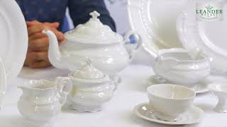 Белая посуда из фарфора Соната (Sonata) Императорский 0000 (Leander, Чехия)