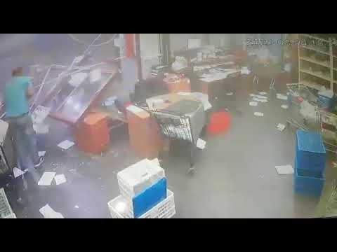 INSANE CCTV footage from an office in #Beirut, #Lebanon during the MASSIVE explosion. ht