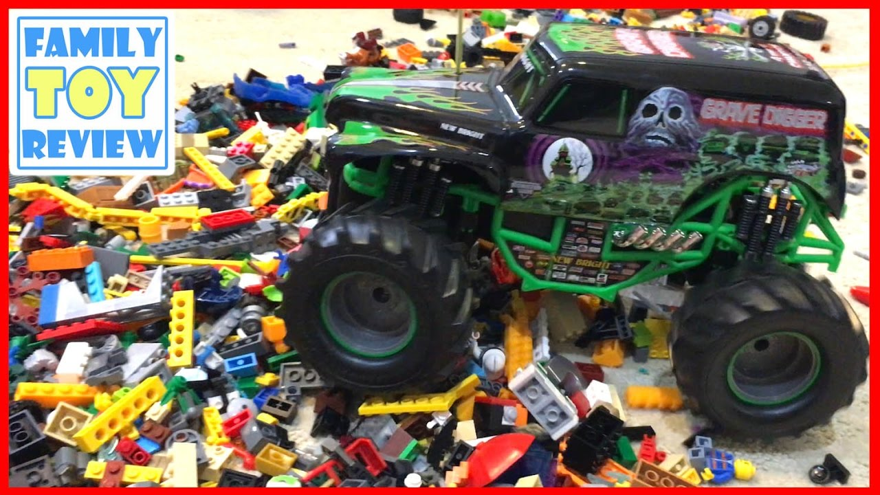 Rc Monster Truck Crushes Lego Pile Monster Jam Trucks Grave Digger