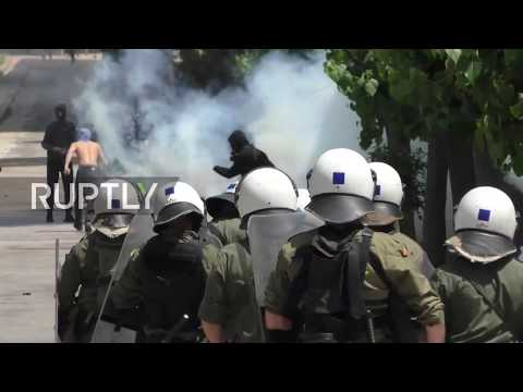 Greece: Police and protesters clash following May Day march in Athens