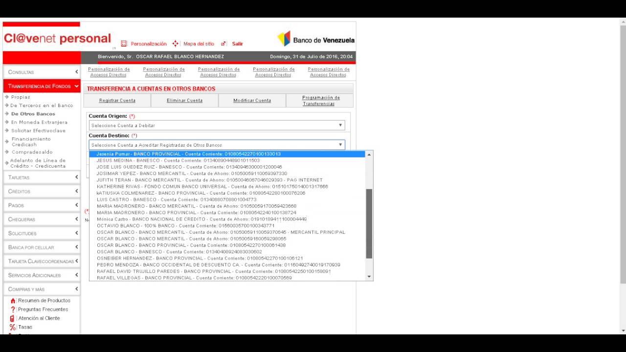 Como realizar transferencias desde el banco de venezuela for Solicitud de chequera banco venezuela