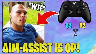 HighDistortion *FIRST TIME* Playing Fortnite ON CONSOLE With Controller! *PROVING AIM-ASSIST = OP*