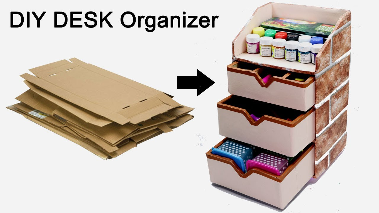 How to Make a Stationary /DIY Desk Organizer Using Cardboard  By  CraftingHours