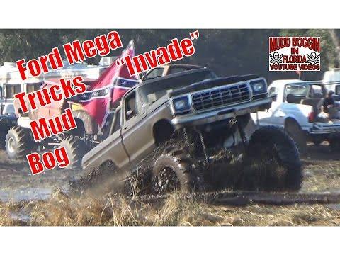 """Ford Mega Trucks """"INVADE"""" the Mud Bog at Iron Horse Mud Ranch."""
