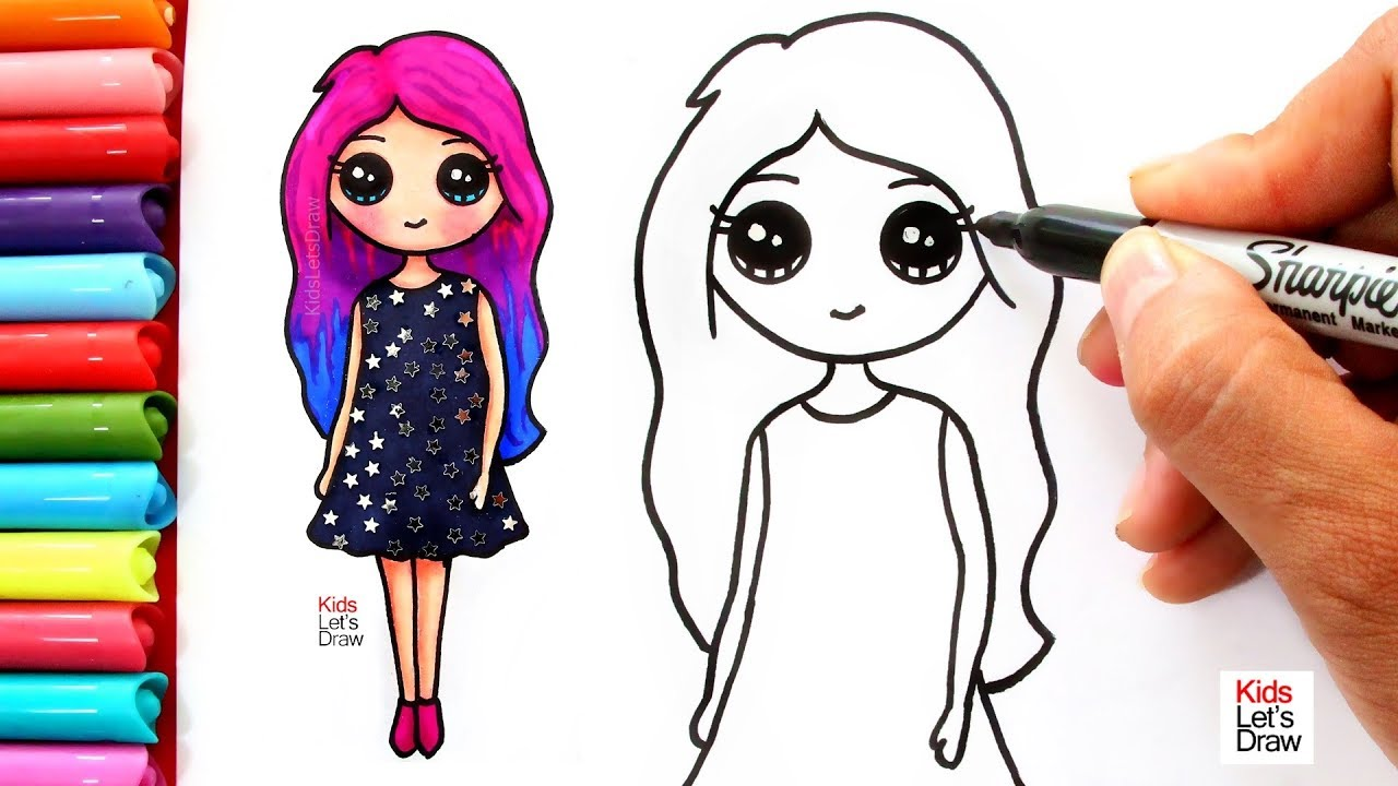 Aprende A Dibujar Una Chica Kawaii Con Cabello De Colores How To Draw A Cute Girl Easy