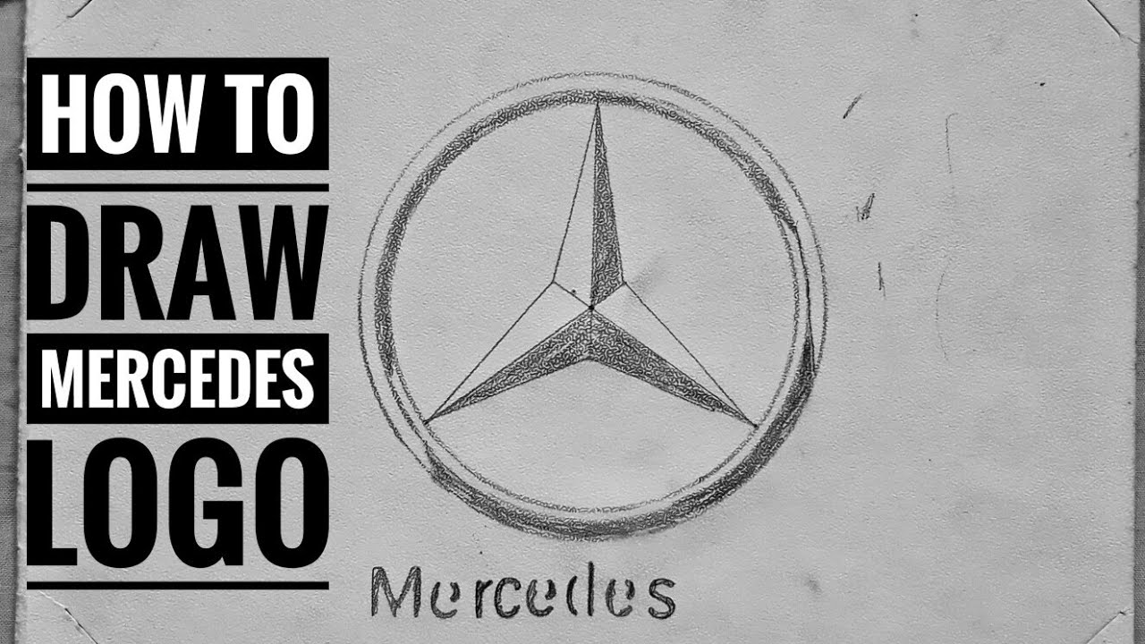 How To Draw The Mercedes Logo With Shading Youtube