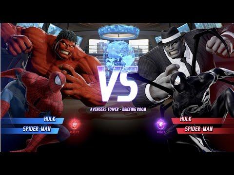 Red Hulk And Spider-man Vs Grey Hulk And Spider-man - MARVEL VS. CAPCOM: INFINITE