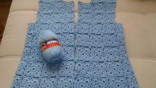 Жакет из квадратных мотивов (безотрывное вязание крючком). Часть 3. Сrochet jacket.