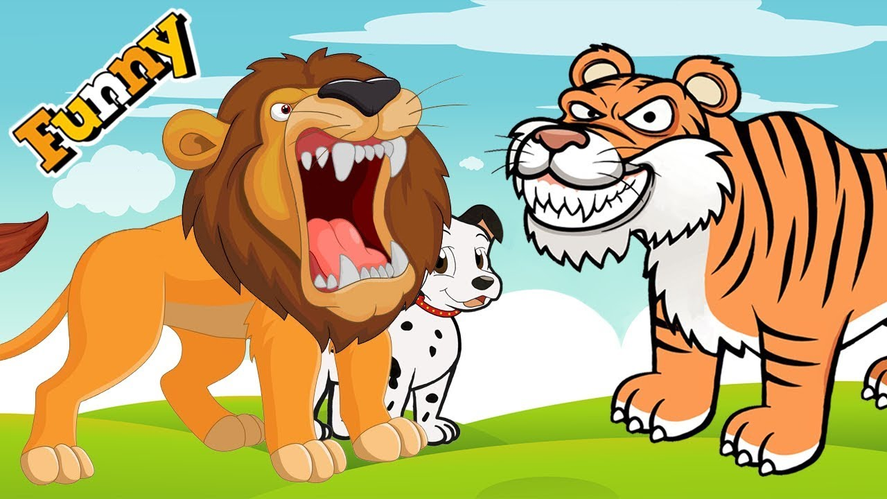 Funny Animals Cartoons Compilation Just For Kids Dog Go To School And Lion Attacks Tiger Youtube
