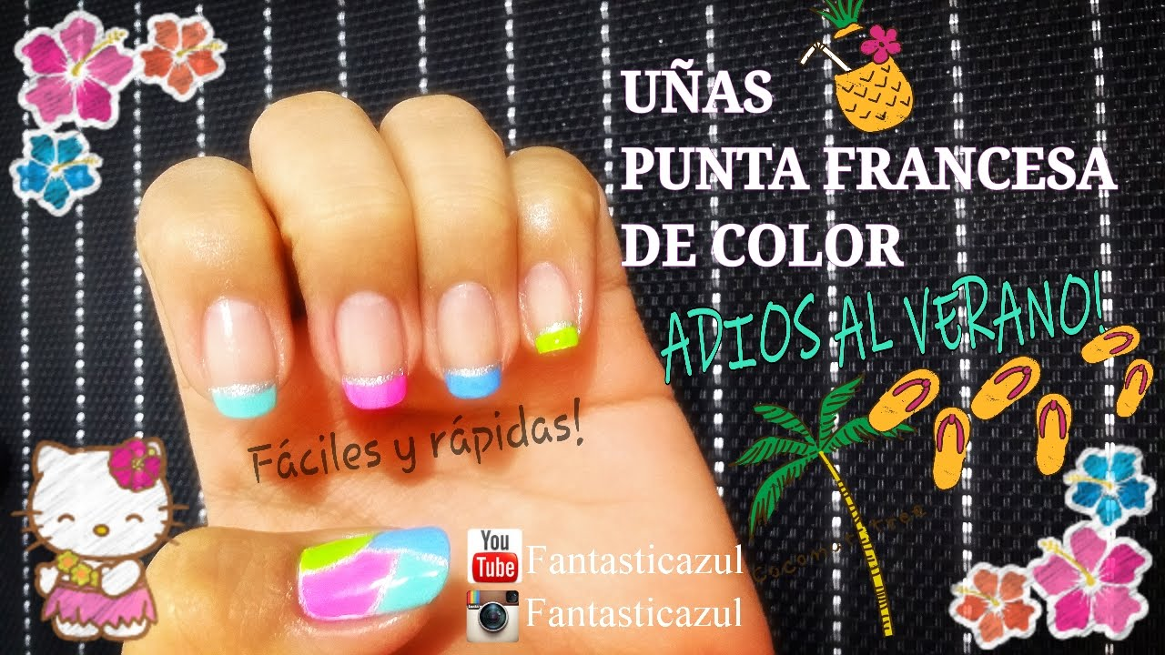 Uñas punta francesa de colores por Fantasticazul - YouTube