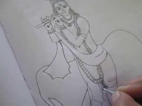 Lord gopala krishna image pencil drawing