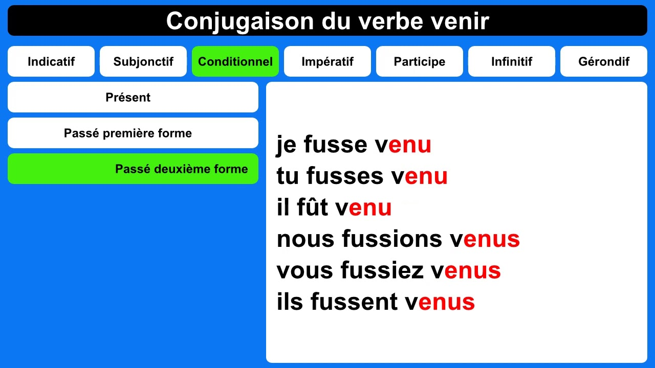 Conjugaison Du Verbe Venir Youtube