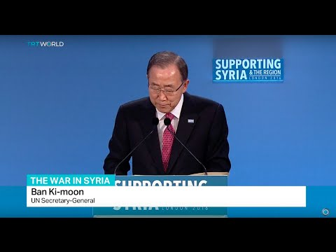UN Secretary General Ban Ki-moon speaks at Syrian donor conference in London