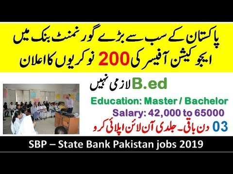 SBP-State Bank Announced 200+ Post 2019 | Education Officer | Exhibition Developer | Archive Lab Assistant