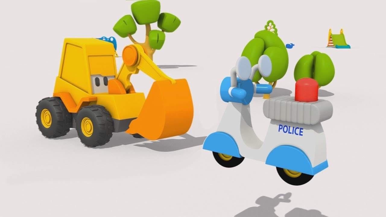 Cartoni animati per bambini l escavatore max la moto della