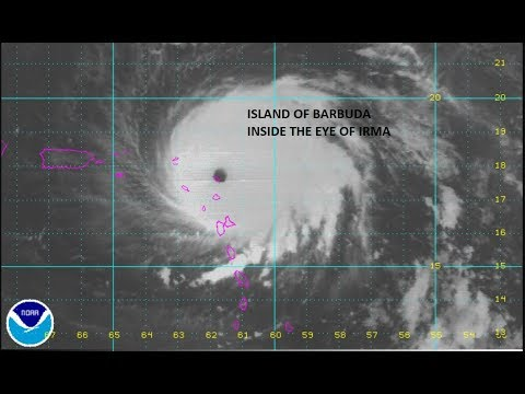 IRMA CATEGORY 5 HURRICANE WINDS 185 MPH MOVING OVER THE ISLAND OF BARBUDA