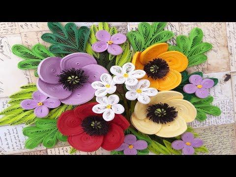 Quilling Poppy Flower V2 Tutorial | DIY Paper Poppy Flower Home Decoration