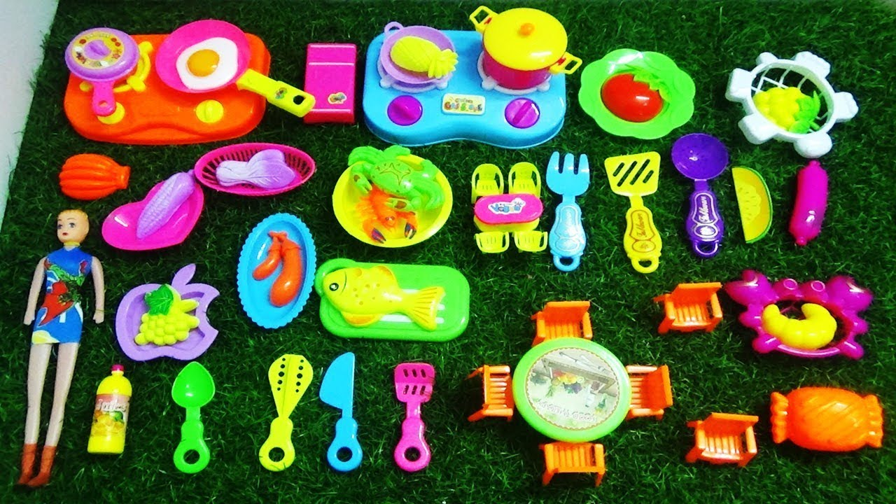 New Mini Kitchen Set With New Collection Of Food And Kitchen Play
