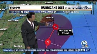Jose strengthens back into Category 1 Hurricane