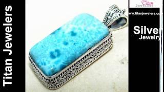 925 Sterling Silver Natural Larimar Gemstones Handmade Jewelry