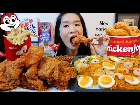 jollibee-party-feast!-spicy-chicken-joy-&-fiesta-noodles-palabok---filipino-food-mukbang-asmr-eating