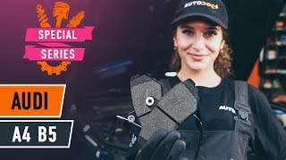 How to change front brake pads onAUDI A4 B5 Saloon [TUTORIAL AUTODOC]