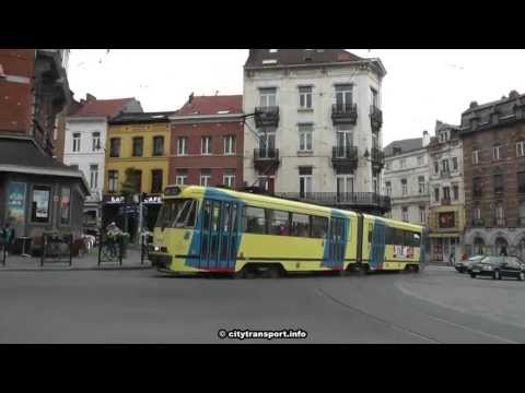 Roundabout Trams and Buses In Brussels