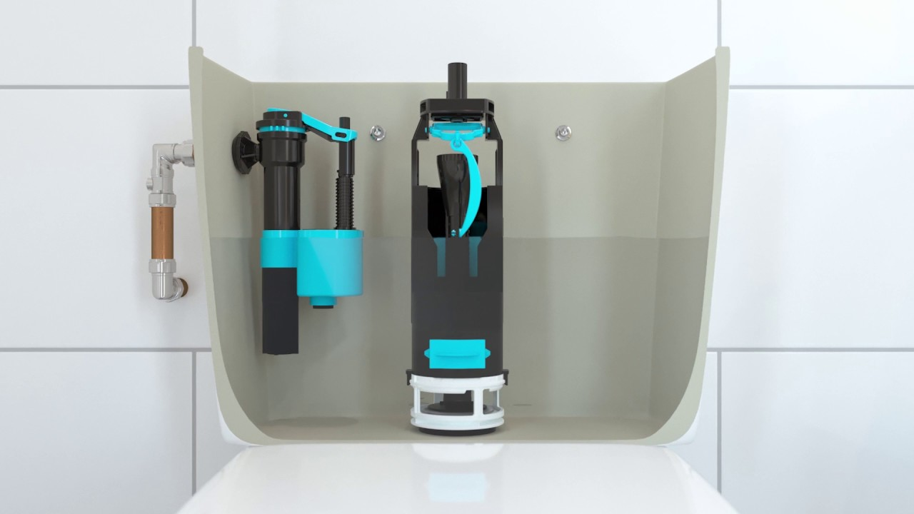 Toilet Flush Valve Button Cistern Dual Push Flush Siphon Fill Bottom Side Entry