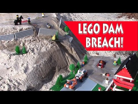LEGO Dam Breach - A Lego House and Street are Flooded - Full Video