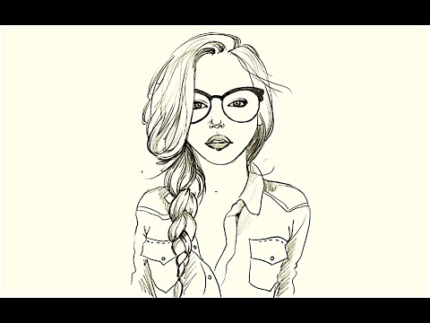 How to draw a Girl in Glasses YouTube