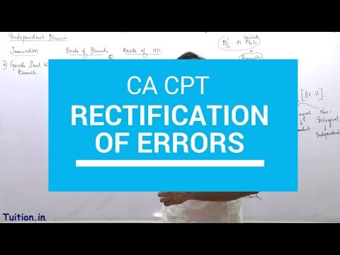 CA CPT | Rectification Of Errors