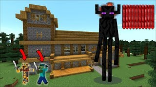 GIANT ENDERMAN TITAN APPEARS IN OUR HOUSE IN MINECRAFT !! FIGHT THE GIANT TITANS MOBS !! Minecraft