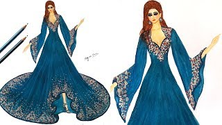 How to draw a Arabic evening dress