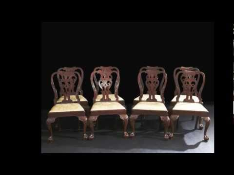Set Of Eight George Ii Walnut Ball And Claw Foot Dining Chairs