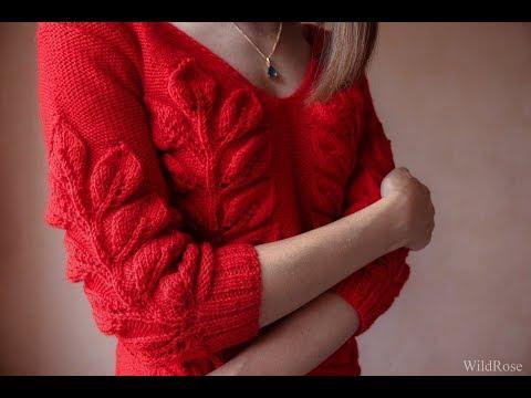 Пуловер с ажуром спицами