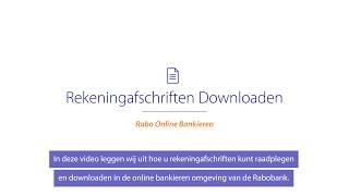 Rekeningafschriften en overzichten downloaden in Rabo Online Bankieren