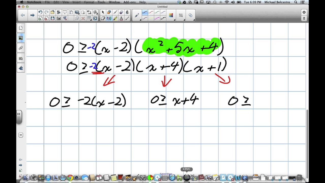 Solving Polynomial Inequalities Interval Method Grade 12 Advanced Functions Lesson 2 6 10 1 13