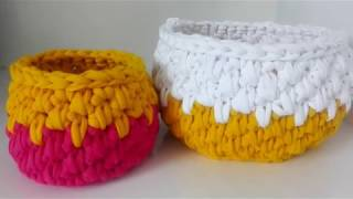 آموزش بافت سبد با کاموا تریکو..how to crochet T_shirt yarn basket