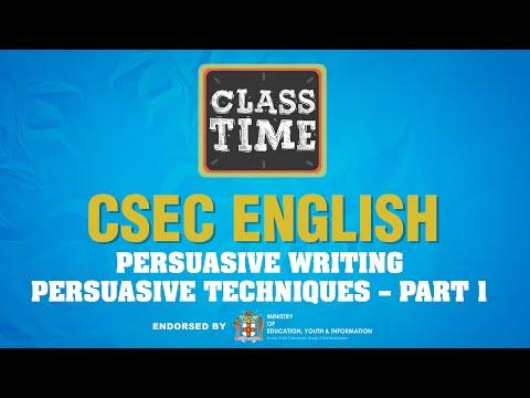 CSEC English | Persuasive Writing: Persuasive Techniques – Part 1 - June 11 2021