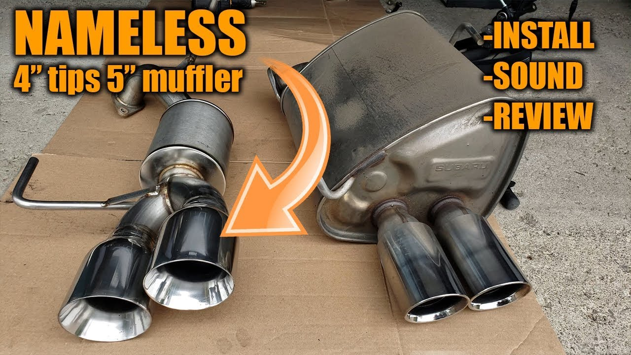 nameless axleback 4 tips 5 muffler install sound comparison review in a 2017 wrx