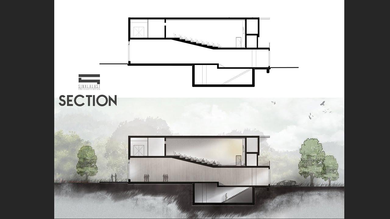 Section Photoshop Photoshop Architecture Youtube