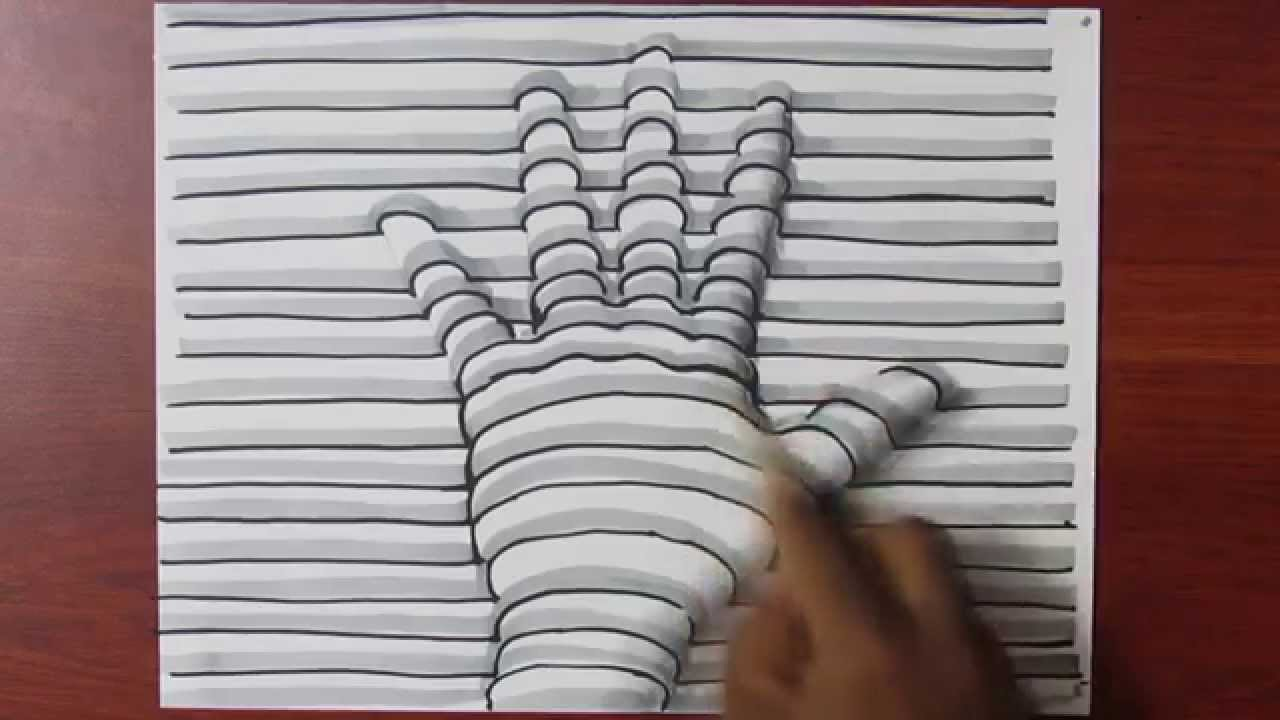 How To Draw A 3d Hand With Lines On Paper Easy Trick Art Youtube