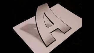 3D рисунок. Объёмная буква А. Рисуем с Барсиком.