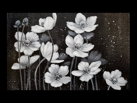 Easy Black and White Floral Acrylic Painting Tutorial for Beginners LIVE