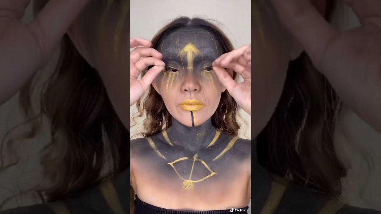 Makeup Inspired by Zodiac Signs | Sagittarius Tiktok Reverse Makeup Removal #makeup #aiveekate